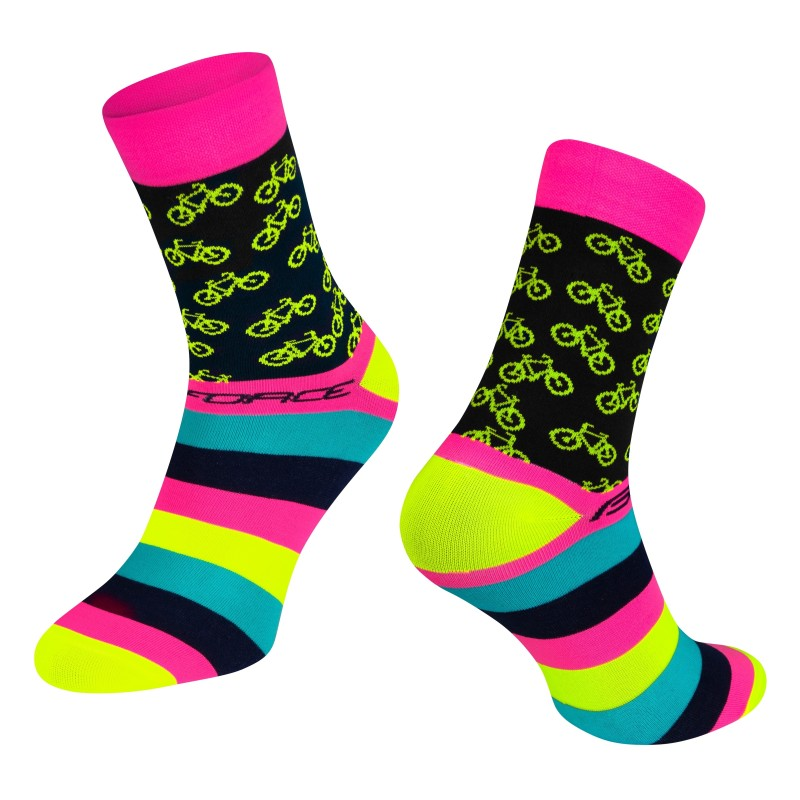 shorts FORCE MTB-11 to waist with pad  fluo S